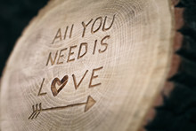 All You Need Is Love. The Inscription On The Tree. Background Fo