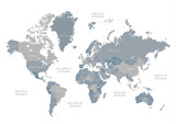 Highly detailed world map with labeling. Grayscale vector illustration.