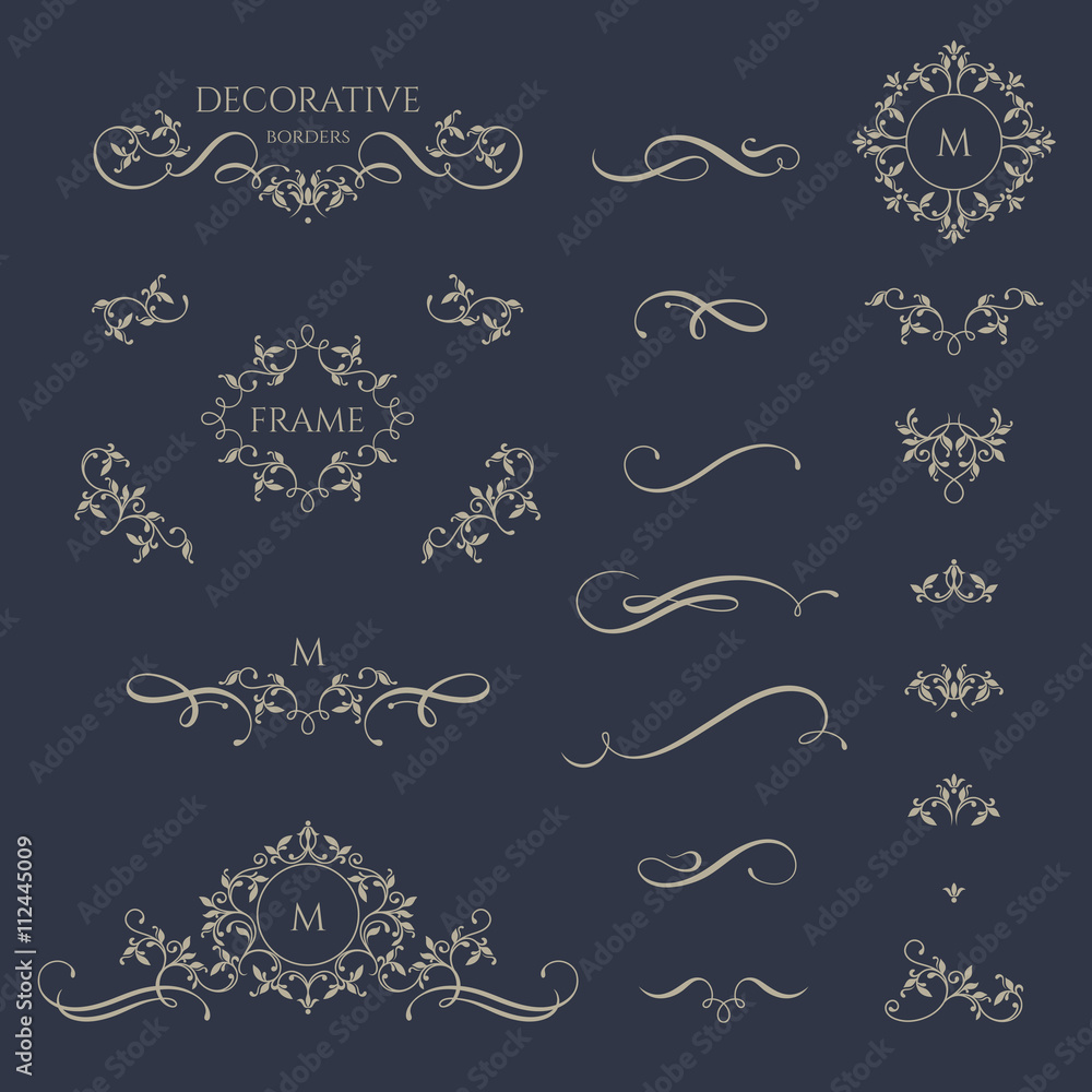 Fototapety, obrazy: Floral borders and monogram with calligraphic elements. Template signage, logos, labels, stickers, cards.