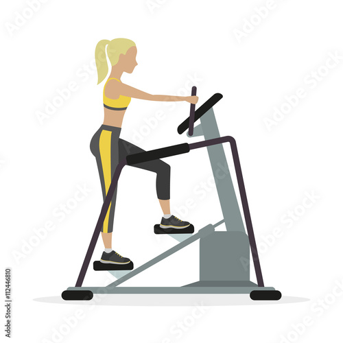 Fotografie, Obraz  Woman workout on stepper, on a white background. Vector.