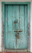 Rustic Antique Wooden Door. Architectural Element. Material Construction.