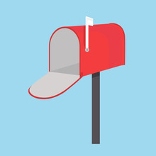 Vector Illustration Red Empty Mail Box With White Flag  On Blue Background. Mailbox Icon Flat Design
