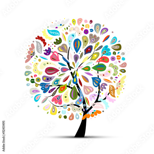 Floral tree for your design Wallpaper Mural