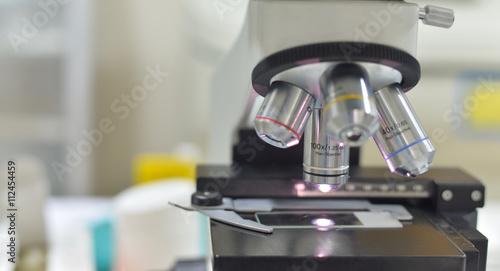 Valokuva  Close up of microscope at the laboratory