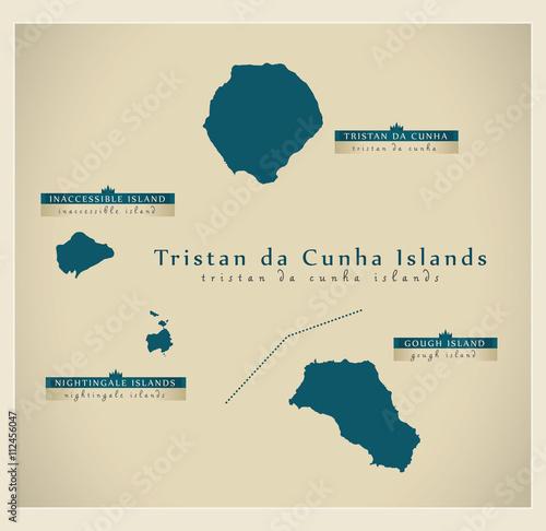 Fotografie, Obraz  Modern Map - Tristan da Cunha Islands details GB Oversea Territory