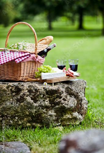 Stickers pour portes Pique-nique A picnic laid out in a green spring park