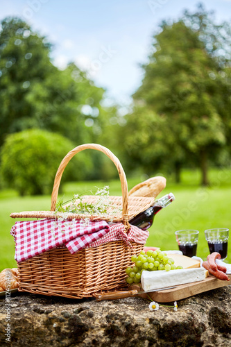 Aluminium Prints Picnic Tasty spring picnic lunch with red wine