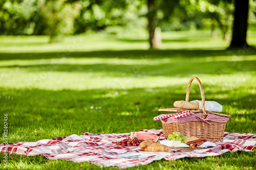 Delicious picnic spread with fresh food Canvas