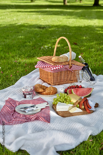 Aluminium Prints Picnic Healthy picnic food with fruit, cheese and bread