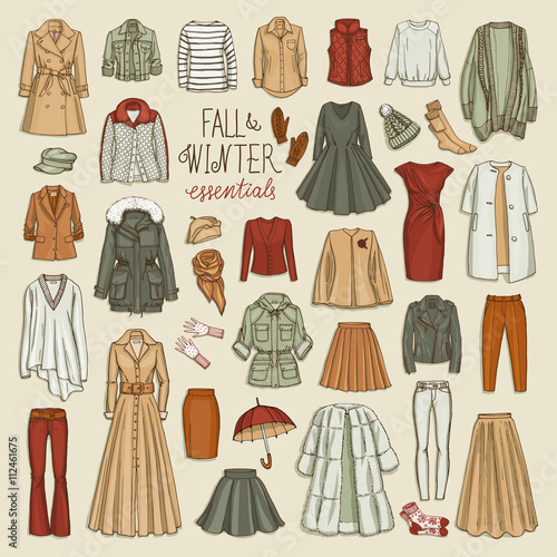 f0b11c154764a5 Vector illustration of female fall and winter fashion collection of clothes.  Hand-drown objects sketch with coats, dresses, skirts, jacket, trousers,  hats, ...