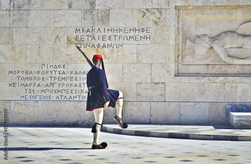 Fotobehang Athene greek evzones - greek tsolias - guarding the presidential mansion in front of the tomb of the unknown soldier - army infantry