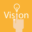 Hand and word vision. - business concept