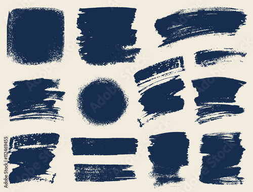 Fototapeta Vector set of hand drawn brush strokes and stains.