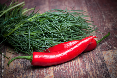 Agretti And Chili Peppers Canvas Print