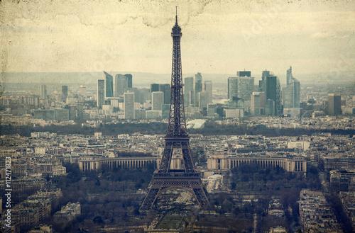 Door stickers Artistic monument Eiffel tower - vintage photo