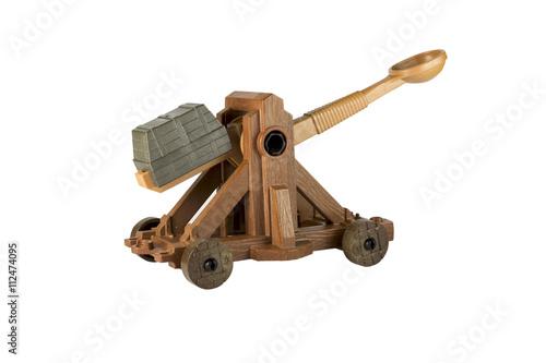 An ancient Norman Catapult toy Billede på lærred