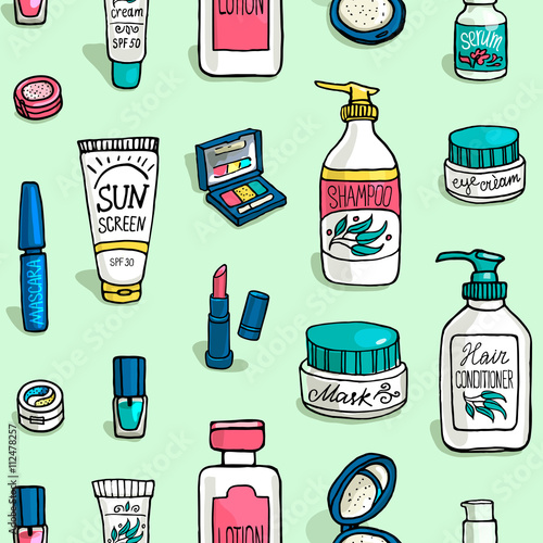 Cotton fabric pattern of make up and cosmetics