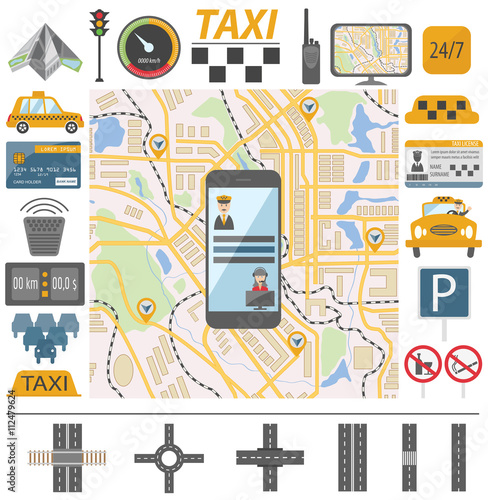 Tuinposter Op straat Taxi infographic template. Flat design