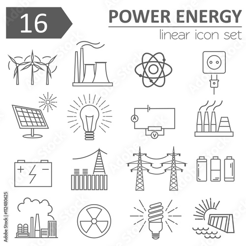Fotografía  Power energy icon set. Thin line design