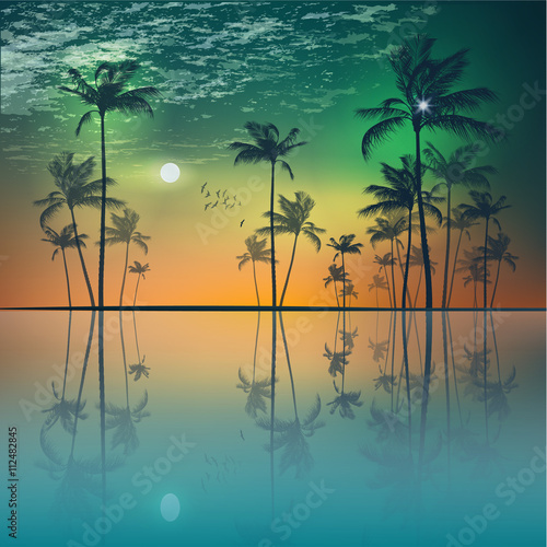 Island of tropical palm trees  at sunset or moonlight, with clou Wall mural