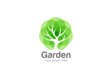 Tree Logo Abstract Design Vector Negative Space Eco Green Oak