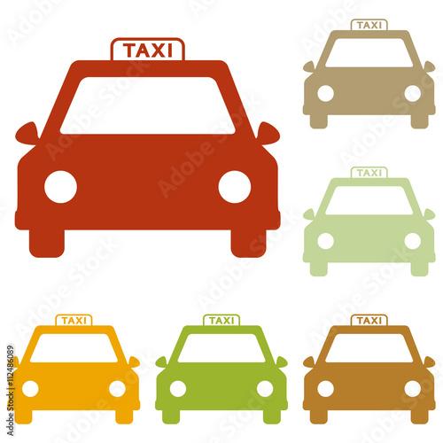 Foto op Aluminium Cartoon cars Taxi sign illustration