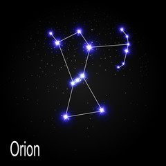 Orion Constellation with Beautiful Bright Stars on the Backgroun