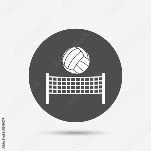 Photo  Volleyball net ball icon. Beach sport symbol