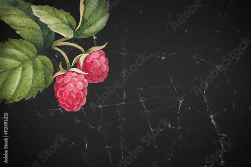 Watercolor raspberry illustration - 112493212