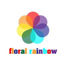 Floral Rainbow Company Logo Colorful Like A Rainbow Flower With Seven Petals For Decoration Or Design Logo