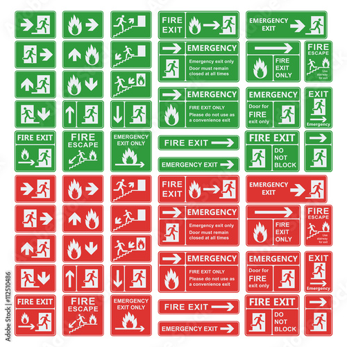 Exit sign vector set isolated Wall mural