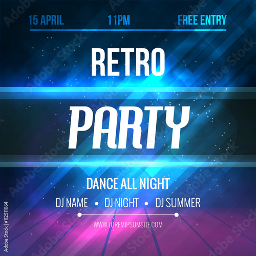Dance Retro Party Poster Template Night Flyer Club Design