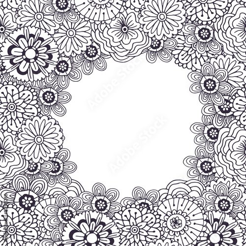 Adult Coloring Book Page Vector Frame With Abstract Flowers Pattern