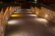 Lights Illuminate The Alley Street At Night City