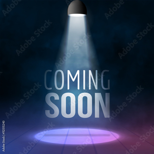 Photo Coming soon illuminated with light projector blank stage realistic vector illustration