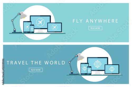 Fotografie, Obraz  Set of flat design travel concepts