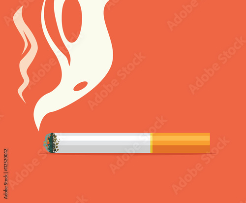 Obraz na płótnie Cigarette flat cartoon illustration. Bad habit. Burning cigarette