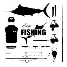 Set Items Fisherman . Sea Fishing . Collection Of Silhouettes Of