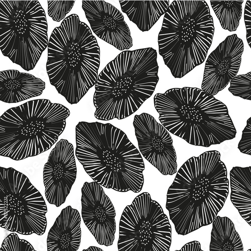 Seamless Pattern With Flowers Black And White Floral Background