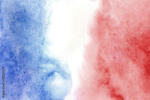 Fototapeta Colors of French flag in watercolor