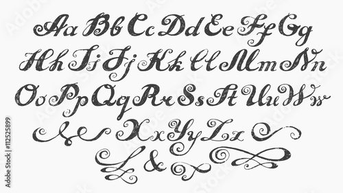 Calligraphy Alphabet Typeset Lettering Hand Drawn Alphabet Capital And Lower Case Letters