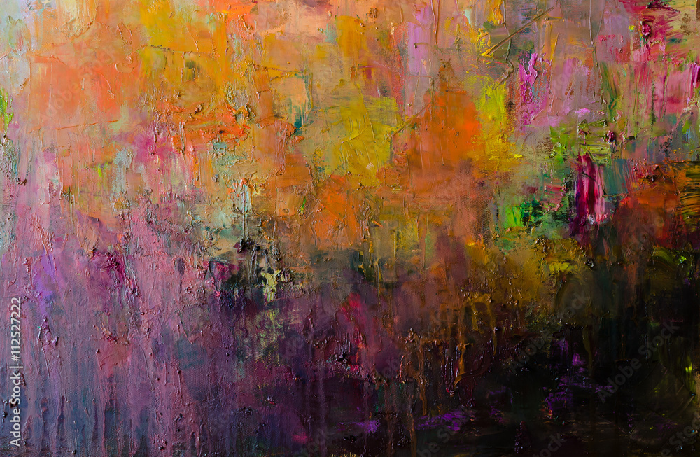 Fototapeta Abstract oil painting background. Hand drawn oil painting on canvas .Color texture. Fragment of artwork.