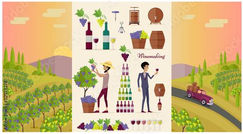 Fotografía  Winemaking Design Concept and Icon Set