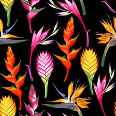Jungle flowers seamless