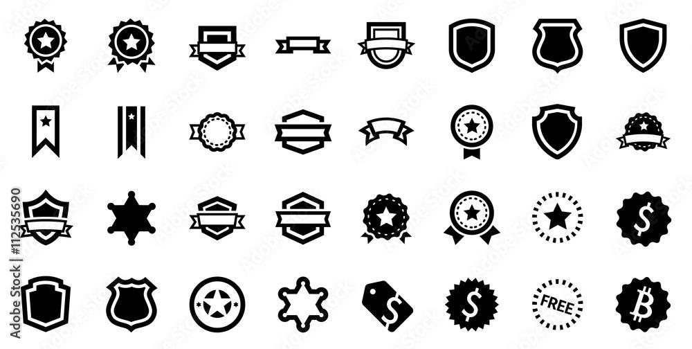 Fototapeta Award Reward Prize Badge Glyph Vector Icon Set