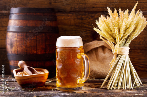 mug of beer with wheat ears Canvas Print