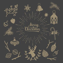 Hand Drawn Vintage Christmas Elements. Rustic Decorative Vector Design Set.