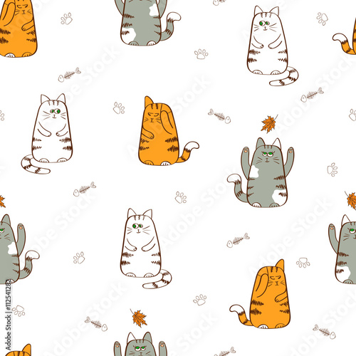 Cute cats seamless pattern. Hand drawn kittens. Vector background with funny cats isolated on white.