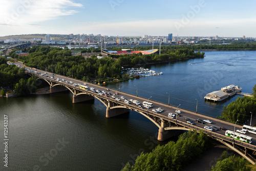 Fototapeta Bridge across the Yenisei in Krasnoyarsk, Russia. obraz