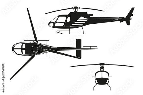 Cuadros en Lienzo Black silhouette of helicopter on white background. Top view, si